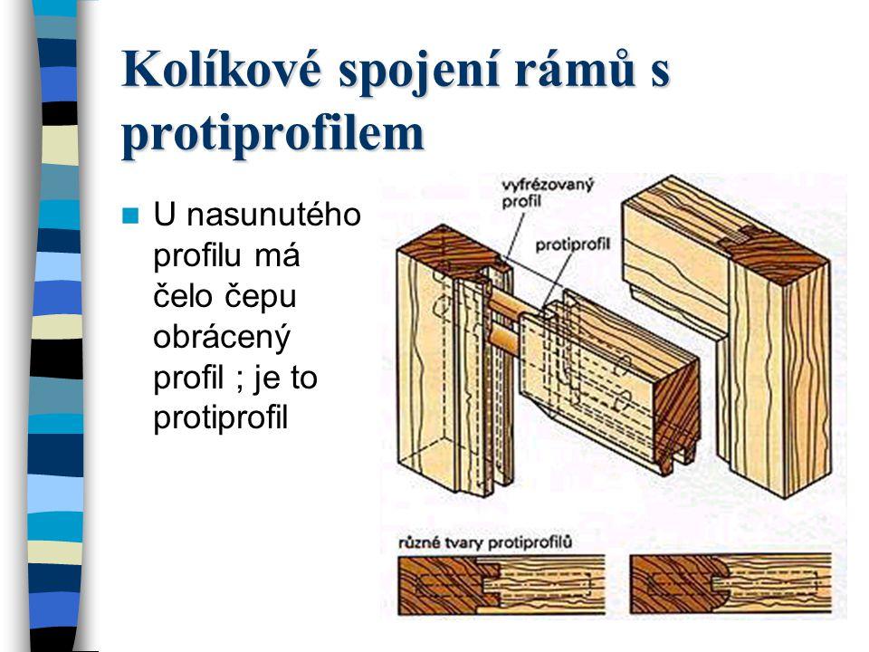 Rozpor a čep – rám s vnitřním profilem na pokos Mají-li vnitřní hrany obruby profily, tak je profilový díl buď sesazen na pokos nebo nasunutý.