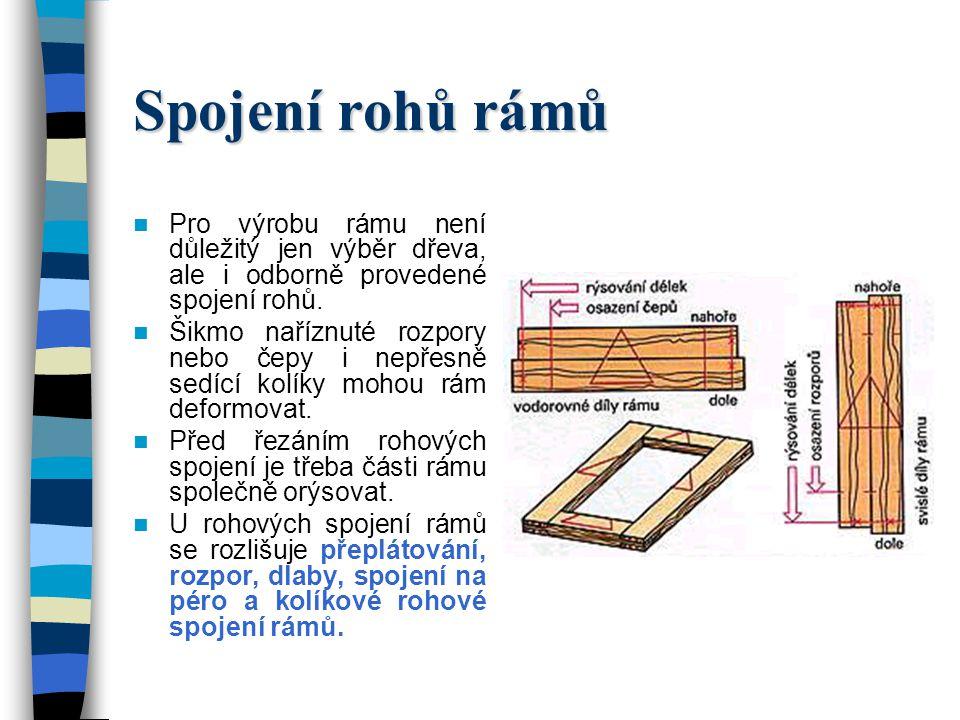 Spojení rohů rámů Pro výrobu rámu není důležitý jen výběr dřeva, ale i odborně provedené spojení rohů.