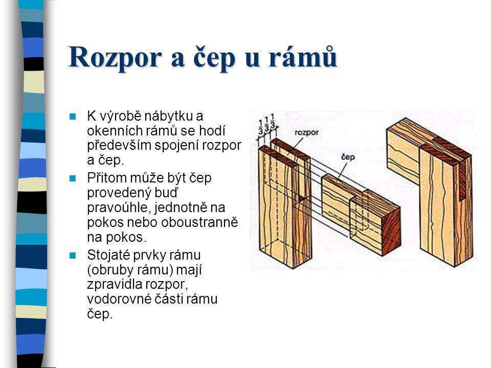 Rozpor a čep u rámů K výrobě nábytku a okenních rámů se hodí především spojení rozpor a čep.