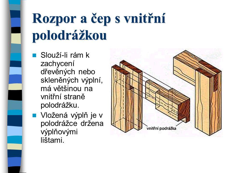 Rozpor a čep s vnitřní polodrážkou Slouží-li rám k zachycení dřevěných nebo skleněných výplní, má většinou na vnitřní straně polodrážku.