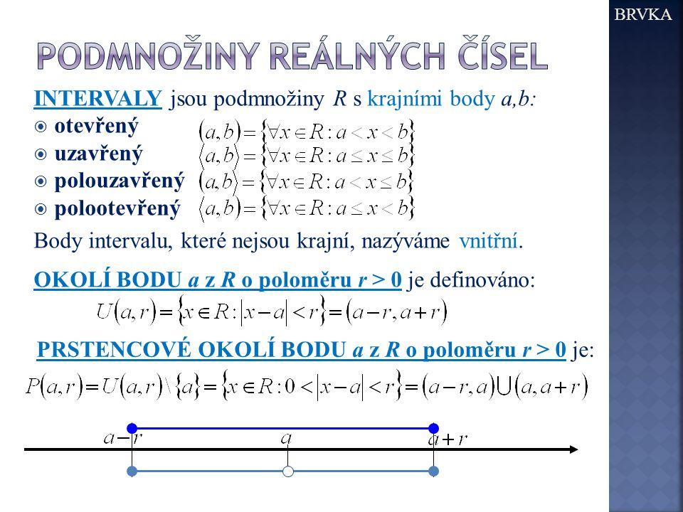 INTERVALY jsou podmnožiny R s krajními body a,b:  otevřený  uzavřený  polouzavřený  polootevřený Body intervalu, které nejsou krajní, nazýváme vni