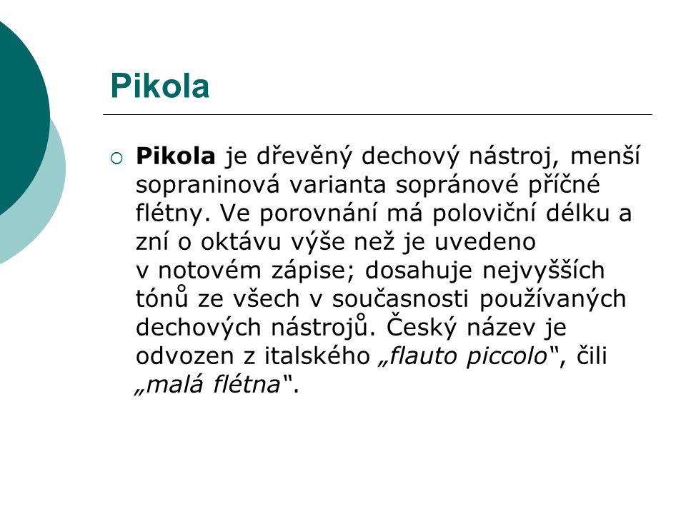 Pikola  Pikola je dřevěný dechový nástroj, menší sopraninová varianta sopránové příčné flétny. Ve porovnání má poloviční délku a zní o oktávu výše ne