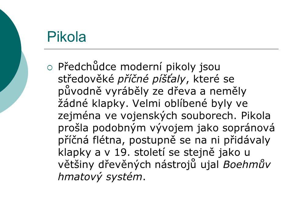 Pikola  Předchůdce moderní pikoly jsou středověké příčné píšťaly, které se původně vyráběly ze dřeva a neměly žádné klapky. Velmi oblíbené byly ve ze