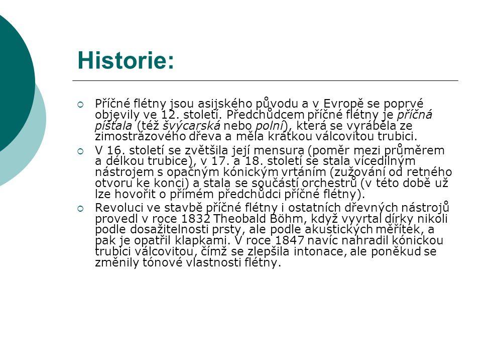 Historie:  Příčné flétny jsou asijského původu a v Evropě se poprvé objevily ve 12. století. Předchůdcem příčné flétny je příčná píšťala (též švýcars