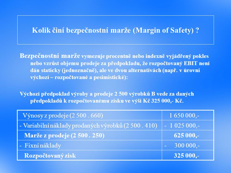 Kolik činí bezpečnostní marže (Margin of Safety) ? Bezpečnostní marže vymezuje procentně nebo indexně vyjádřený pokles nebo vzrůst objemu prodeje za p