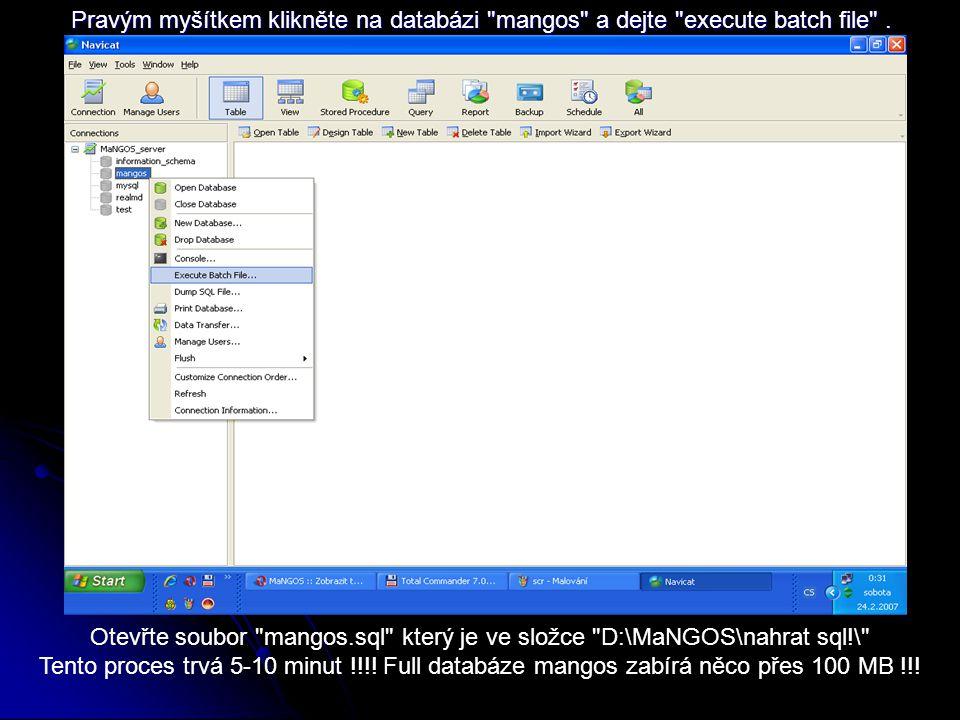 Pravým myšítkem klikněte na databázi mangos a dejte execute batch file .