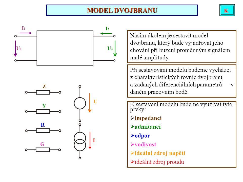 MODEL DVOJBRANU Při sestavování modelu budeme vycházet z charakteristických rovnic dvojbranu a zadaných diferenciálních parametrů v daném pracovním bodě.