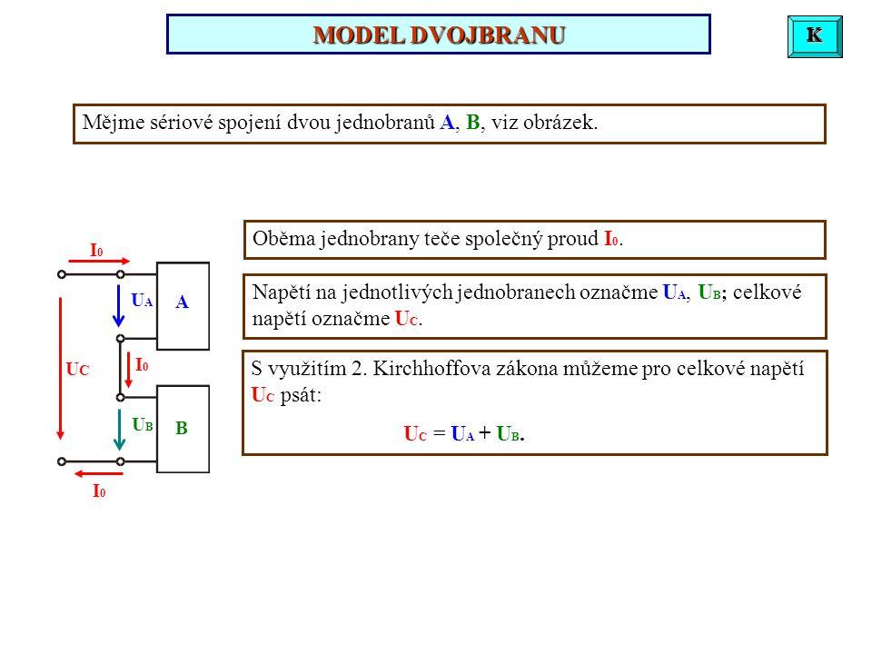 Mějme sériové spojení dvou jednobranů A, B, viz obrázek.