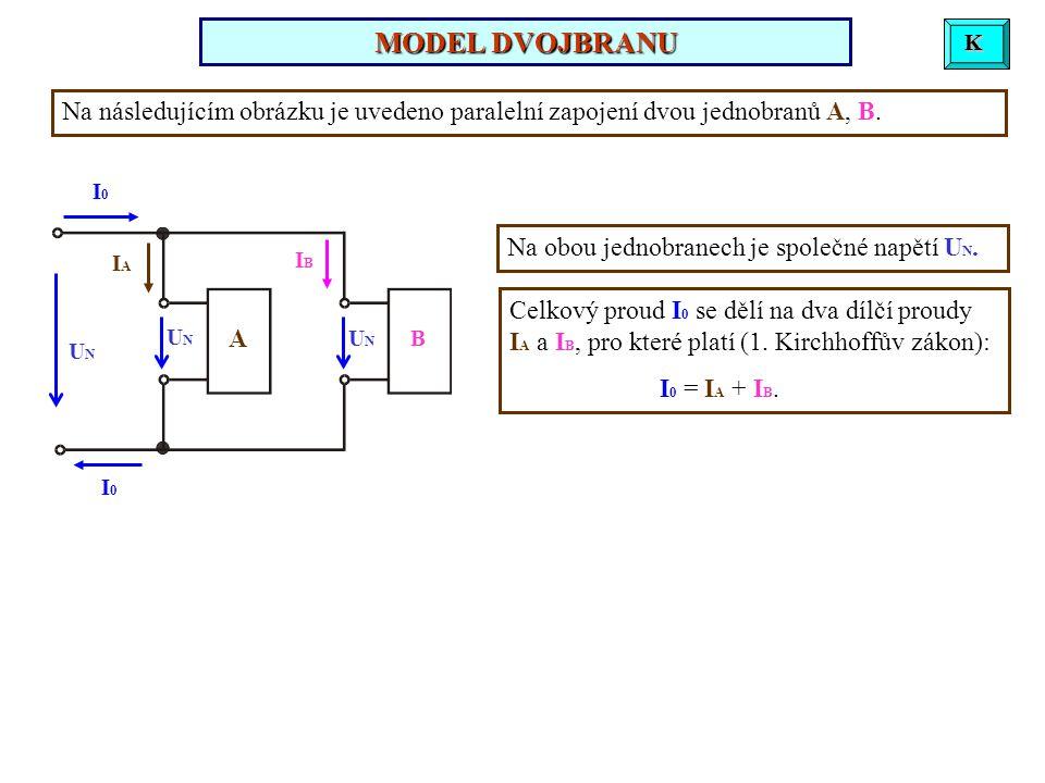 Mějme sériové spojení dvou jednobranů A, B, viz obrázek. Napětí na jednotlivých jednobranech označme U A, U B ; celkové napětí označme U C. UAUA UBUB