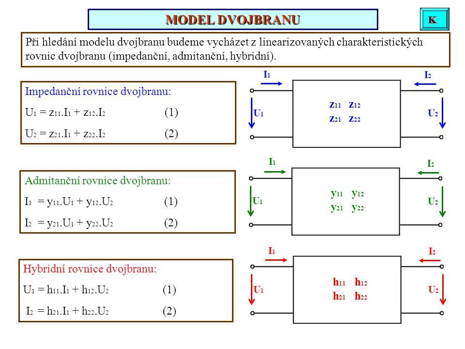 U1U1 I1I1 U2U2 I2I2 z 11 z 12 z 21 z 22 Při hledání modelu dvojbranu budeme vycházet z linearizovaných charakteristických rovnic dvojbranu (impedanční, admitanční, hybridní).