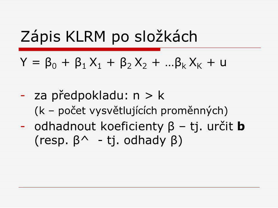 Zápis KLRM po složkách Y = β 0 + β 1 X 1 + β 2 X 2 + …β k X K + u -za předpokladu: n > k (k – počet vysvětlujících proměnných) -odhadnout koeficienty β – tj.
