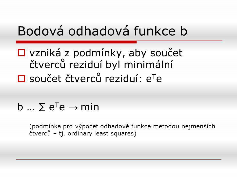 Bodová odhadová funkce b  vzniká z podmínky, aby součet čtverců reziduí byl minimální  součet čtverců reziduí: e T e b … ∑ e T e → min (podmínka pro výpočet odhadové funkce metodou nejmenších čtverců – tj.