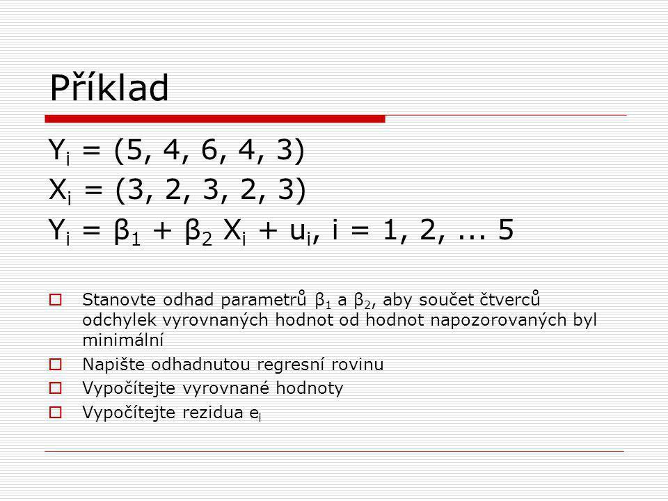 Příklad Y i = (5, 4, 6, 4, 3) X i = (3, 2, 3, 2, 3) Y i = β 1 + β 2 X i + u i, i = 1, 2,...