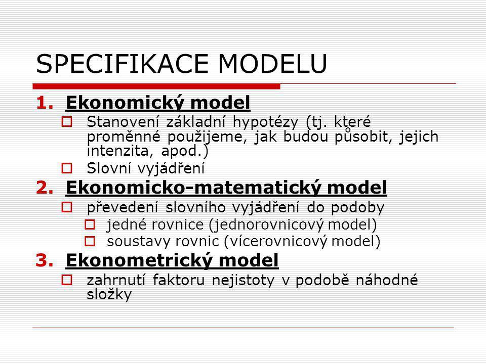 SPECIFIKACE MODELU 1.Ekonomický model  Stanovení základní hypotézy (tj.