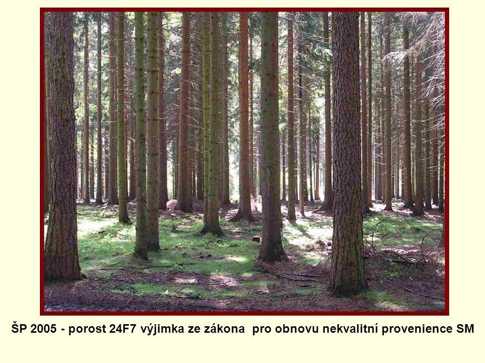 ŠP 2005 - porost 24F7 výjimka ze zákona pro obnovu nekvalitní provenience SM