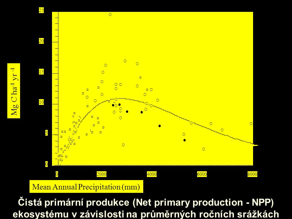 Čistá primární produkce (Net primary production - NPP) ekosystému v závislosti na průměrných ročních srážkách