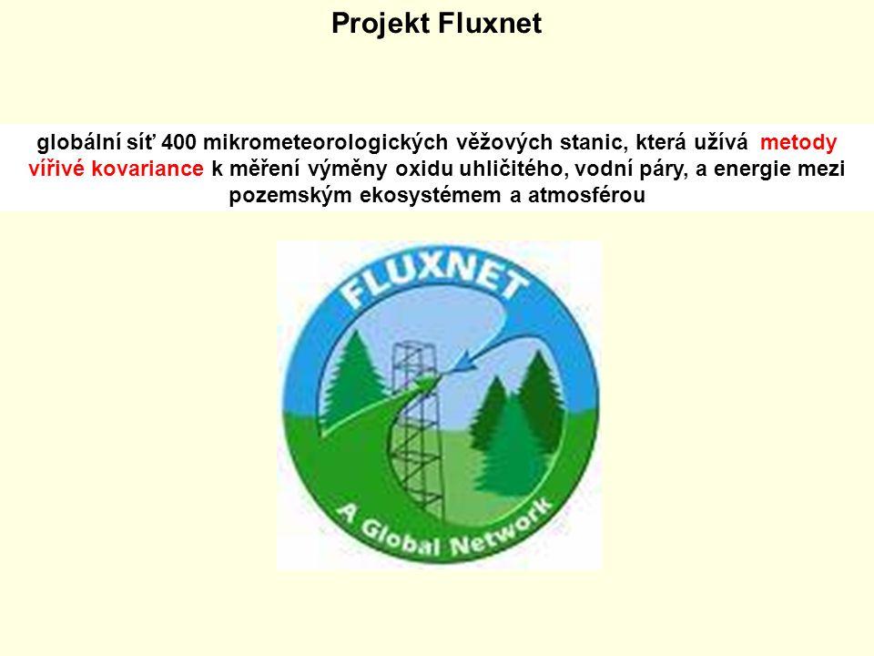 Projekt Fluxnet globální síť 400 mikrometeorologických věžových stanic, která užívá metody vířivé kovariance k měření výměny oxidu uhličitého, vodní p