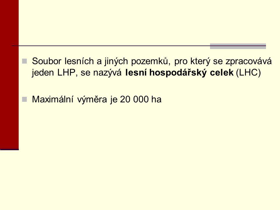Soubor lesních a jiných pozemků, pro který se zpracovává jeden LHP, se nazývá lesní hospodářský celek (LHC) Maximální výměra je 20 000 ha