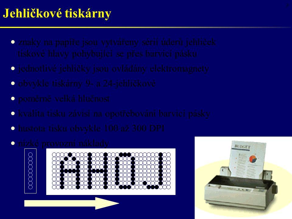 4 V klidu V provozu elektromagnet papír tiskový válec jehlička pružina barvicí páska vodicí otvory Jehličkové tiskárny