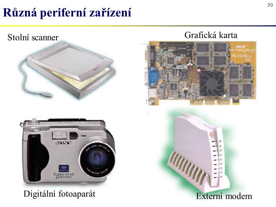 30 Různá periferní zařízení Stolní scanner Grafická karta Digitální fotoaparát Externí modem