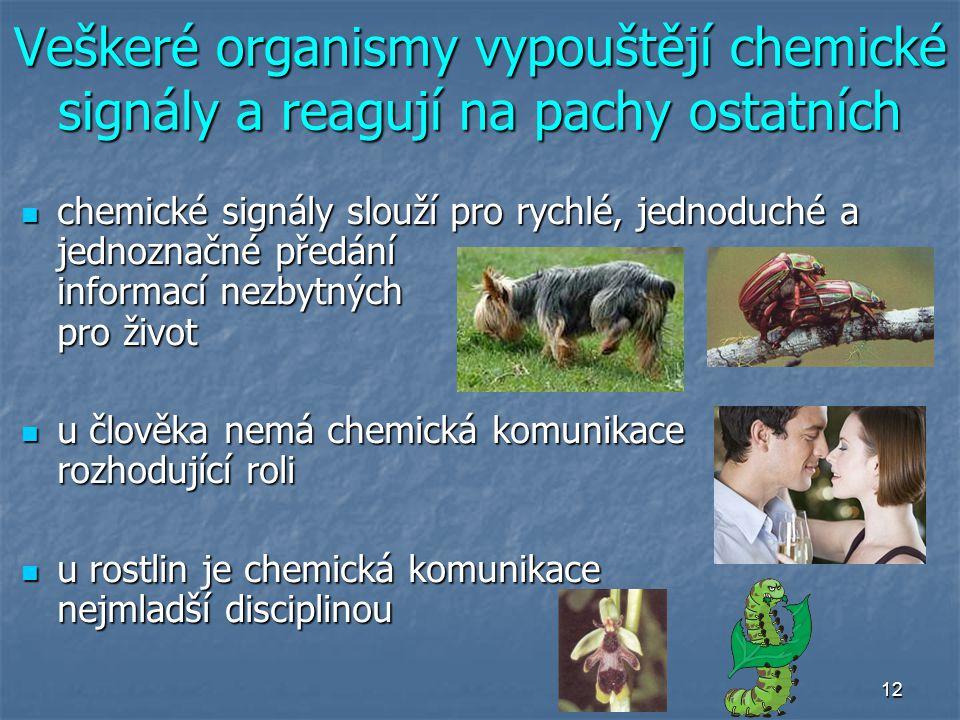 12 Veškeré organismy vypouštějí chemické signály a reagují na pachy ostatních chemické signály slouží pro rychlé, jednoduché a jednoznačné předání inf