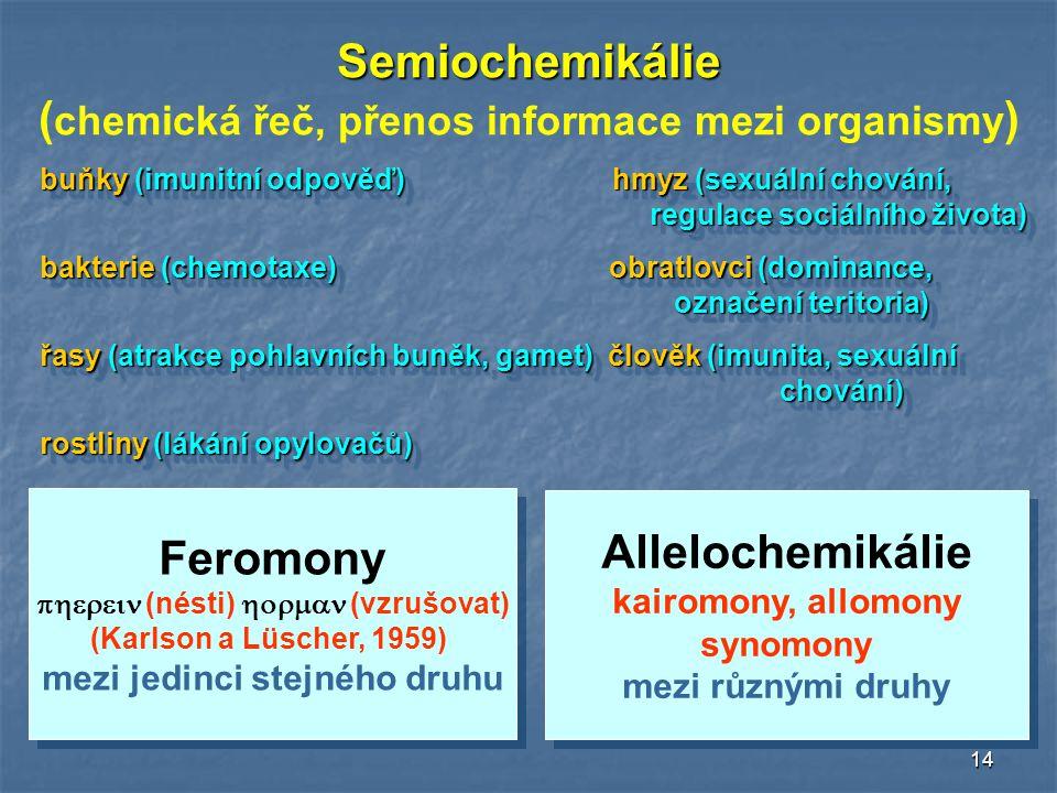 14 Semiochemikálie ( chemická řeč, přenos informace mezi organismy ) Feromony  (nésti)  (vzrušovat) (Karlson a Lüscher, 1959) mezi jedinci