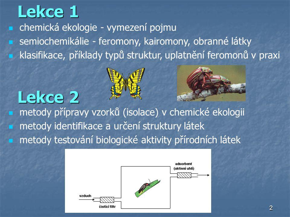 2 Lekce 1 chemická ekologie - vymezení pojmu semiochemikálie - feromony, kairomony, obranné látky klasifikace, příklady typů struktur, uplatnění ferom