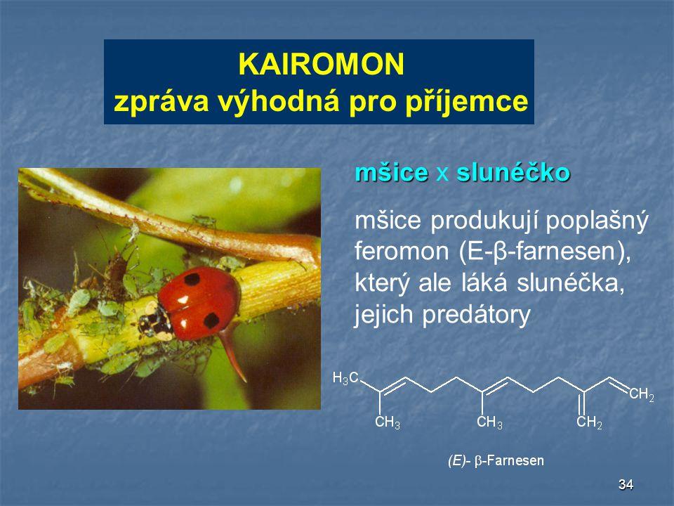 34 KAIROMON zpráva výhodná pro příjemce KAIROMON zpráva výhodná pro příjemce mšiceslunéčko mšice x slunéčko mšice produkují poplašný feromon (E-β-farn