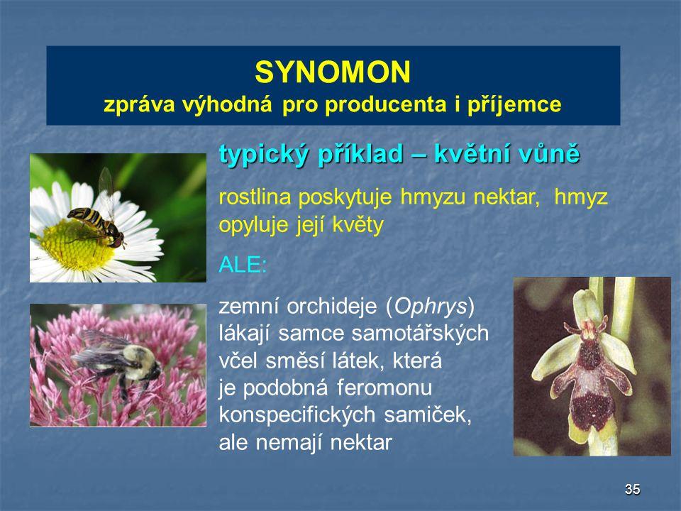 35 SYNOMON zpráva výhodná pro producenta i příjemce typický příklad – květní vůně rostlina poskytuje hmyzu nektar, hmyz opyluje její květy ALE: zemní