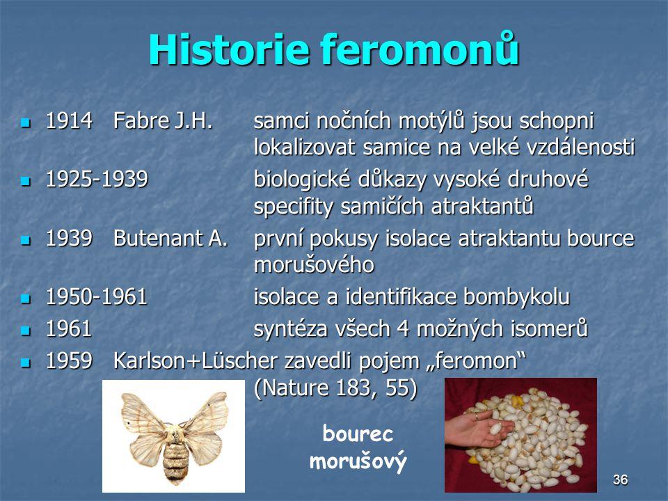36 Historie feromonů 1914Fabre J.H.samci nočních motýlů jsou schopni lokalizovat samice na velké vzdálenosti 1914Fabre J.H.samci nočních motýlů jsou s