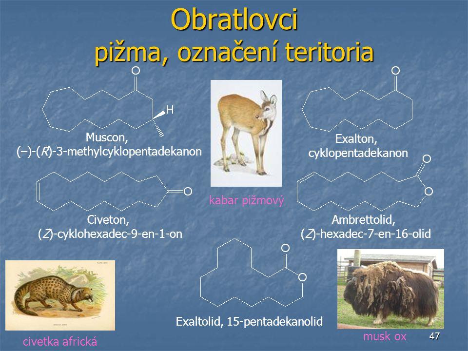 47 Obratlovci pižma, označení teritoria Muscon, (–)-(R)-3-methylcyklopentadekanon Exalton, cyklopentadekanon Civeton, (Z)-cyklohexadec-9-en-1-on Ambre