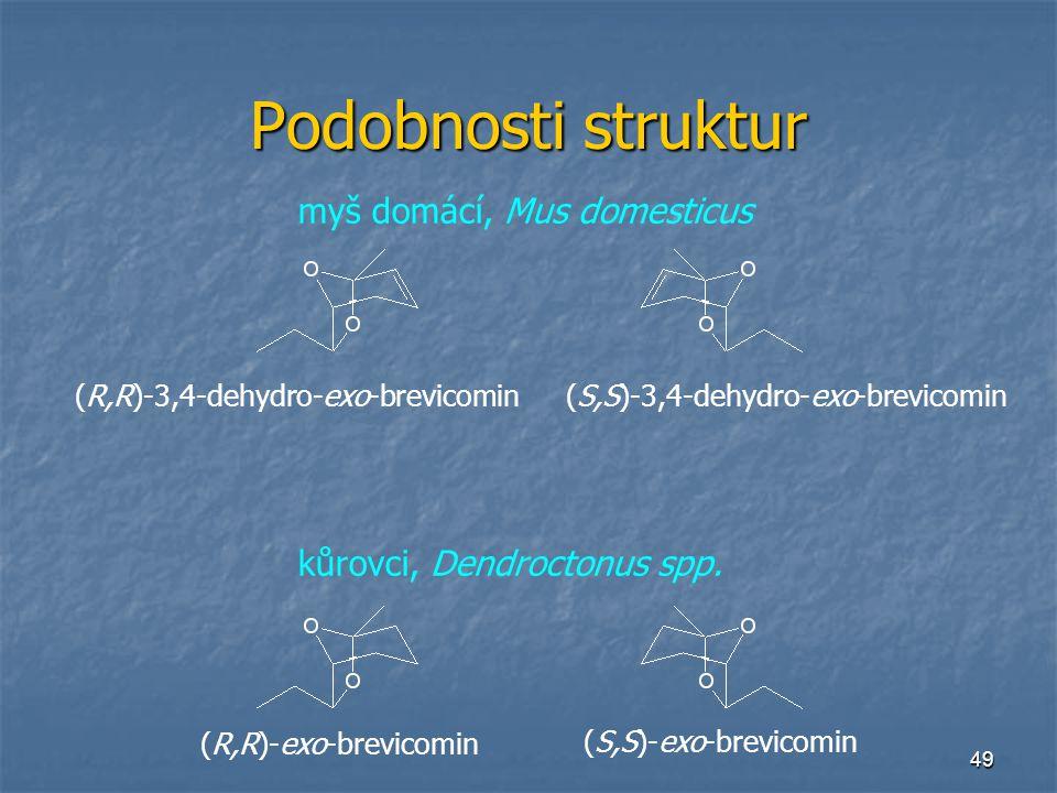 49 Podobnosti struktur myš domácí, Mus domesticus kůrovci, Dendroctonus spp. (R,R)-exo-brevicomin (S,S)-exo-brevicomin (R,R)-3,4-dehydro-exo-brevicomi