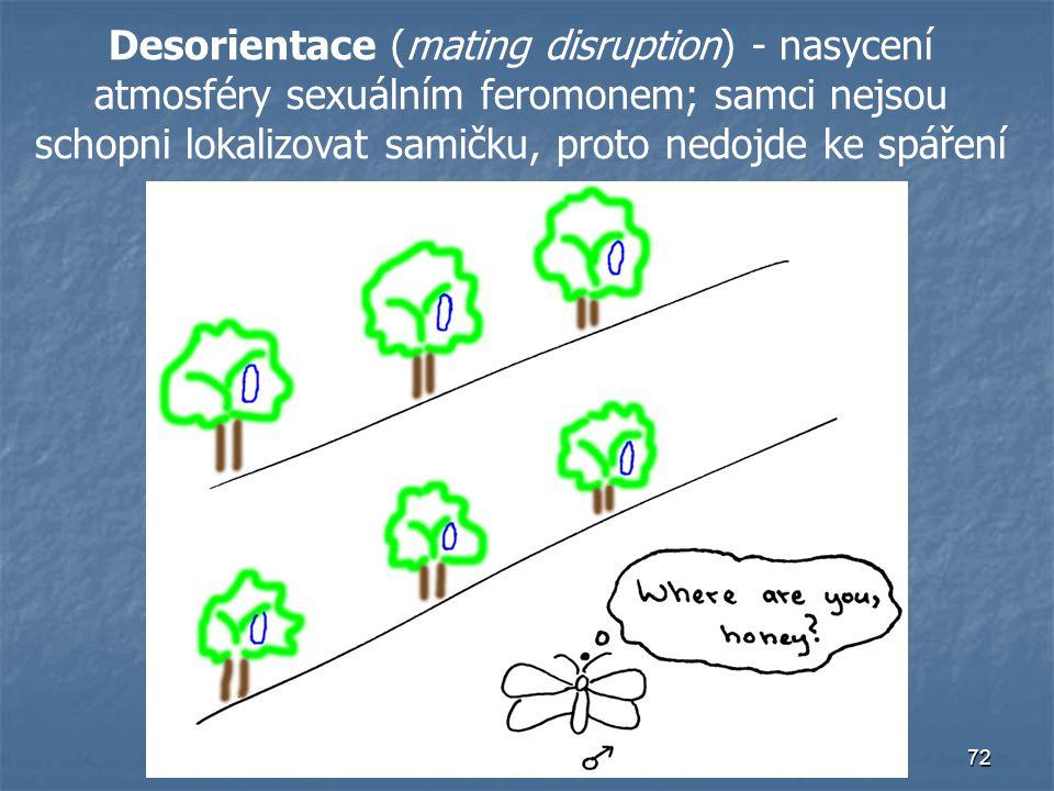 72 Desorientace (mating disruption) - nasycení atmosféry sexuálním feromonem; samci nejsou schopni lokalizovat samičku, proto nedojde ke spáření