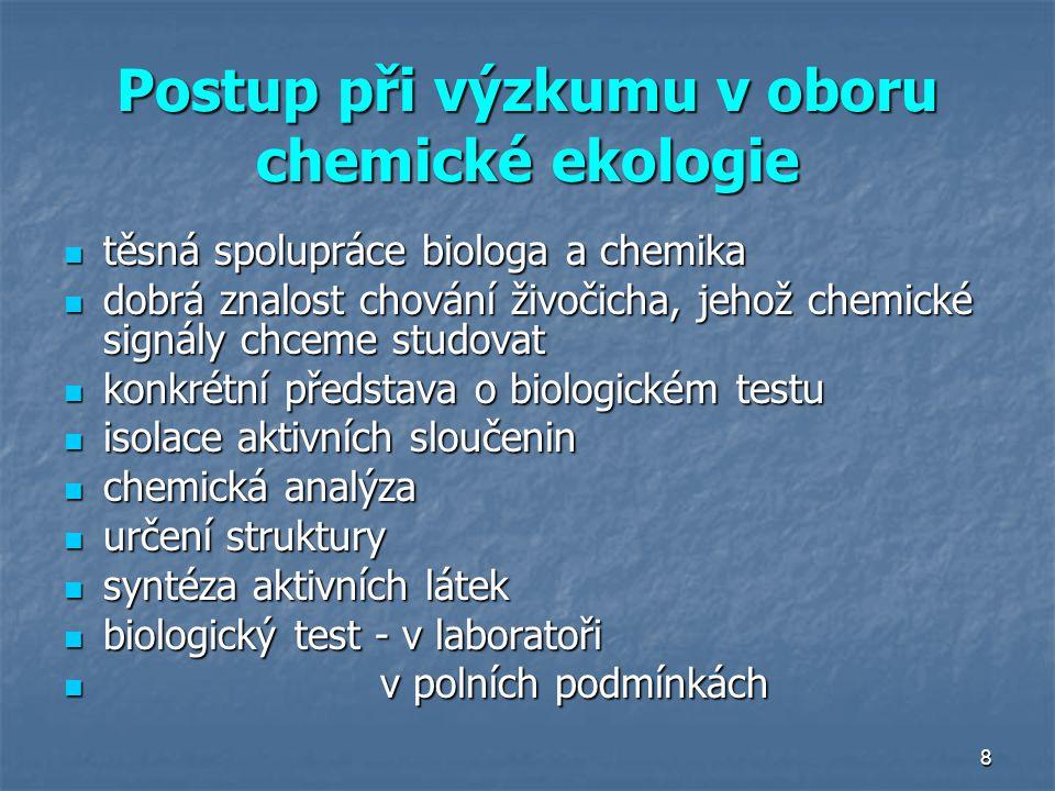8 Postup při výzkumu v oboru chemické ekologie těsná spolupráce biologa a chemika těsná spolupráce biologa a chemika dobrá znalost chování živočicha,