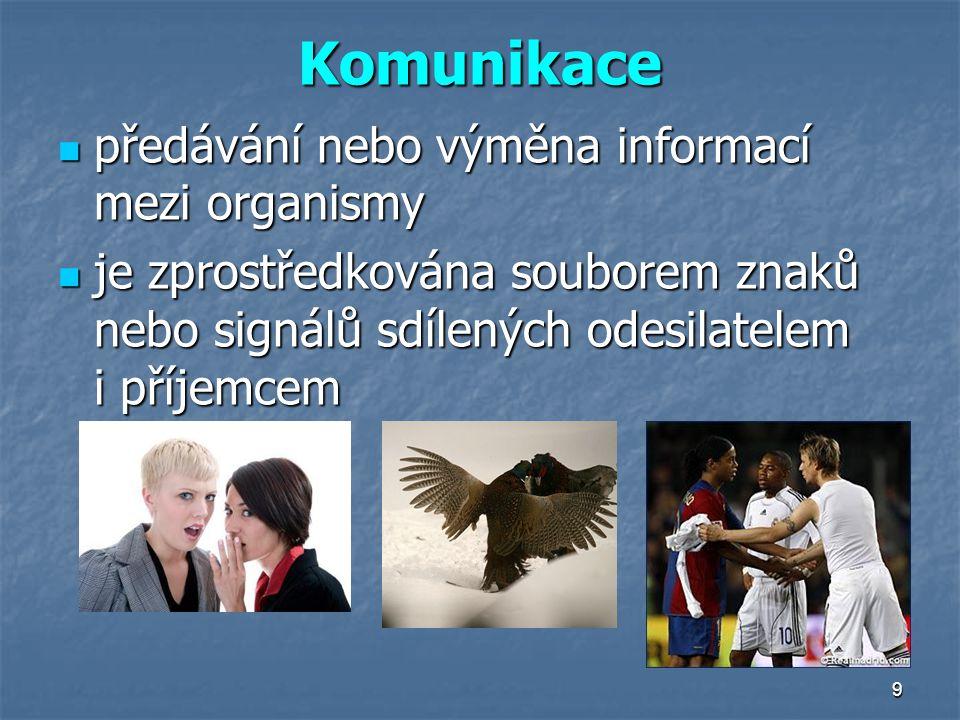 9 Komunikace předávání nebo výměna informací mezi organismy předávání nebo výměna informací mezi organismy je zprostředkována souborem znaků nebo sign