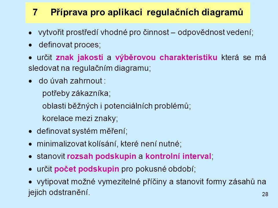 28 7 Příprava pro aplikaci regulačních diagramů  vytvořit prostředí vhodné pro činnost – odpovědnost vedení;  definovat proces;  určit znak jakosti a výběrovou charakteristiku která se má sledovat na regulačním diagramu;  do úvah zahrnout : potřeby zákazníka; oblasti běžných i potenciálních problémů; korelace mezi znaky;  definovat systém měření;  minimalizovat kolísání, které není nutné;  stanovit rozsah podskupin a kontrolní interval;  určit počet podskupin pro pokusné období;  vytipovat možné vymezitelné příčiny a stanovit formy zásahů na jejich odstranění.