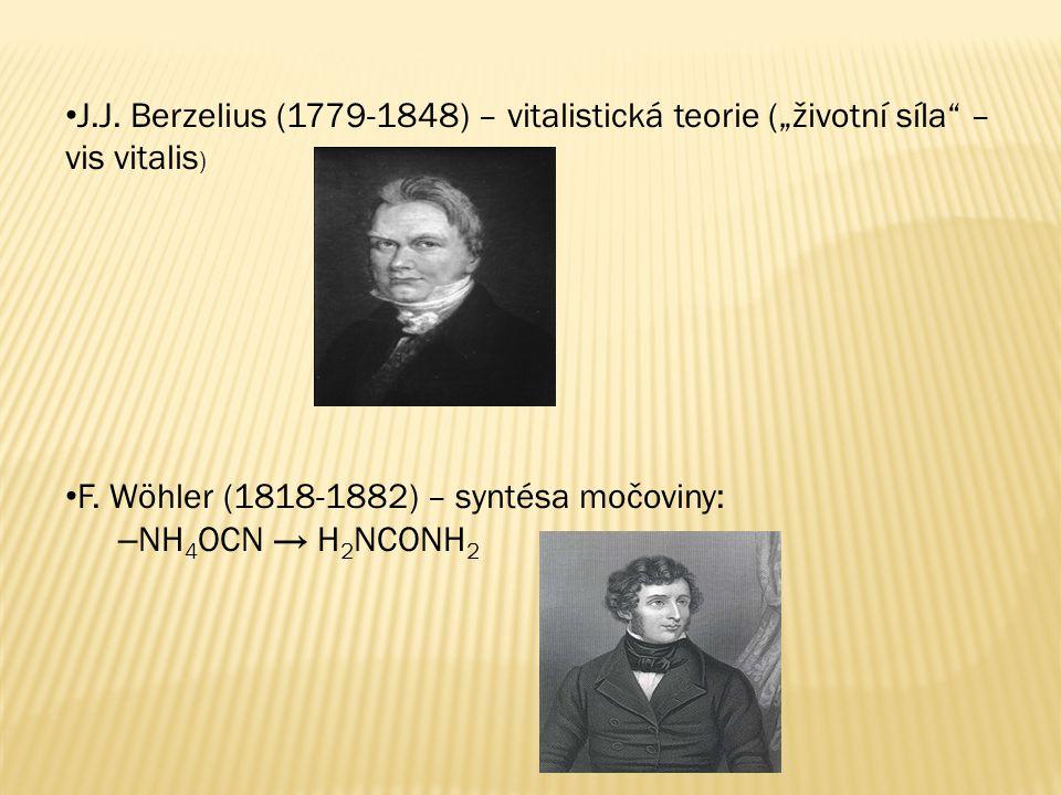 """J.J. Berzelius (1779-1848) – vitalistická teorie (""""životní síla"""" – vis vitalis ) F. Wöhler (1818-1882) – syntésa močoviny: – NH 4 OCN → H 2 NCONH 2"""