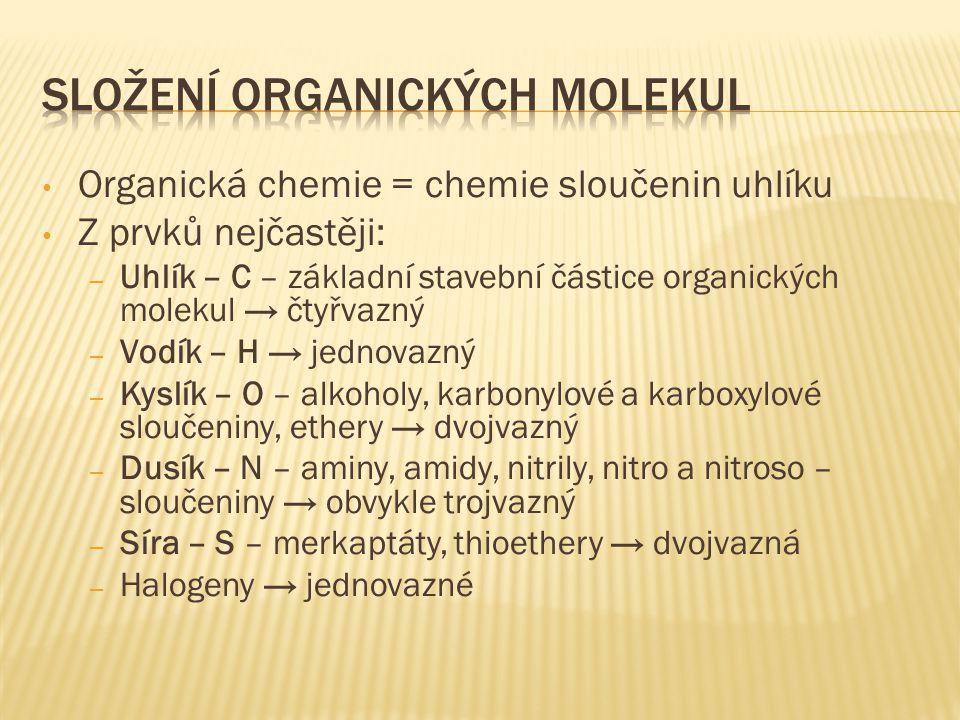Organická chemie = chemie sloučenin uhlíku Z prvků nejčastěji: – Uhlík – C – základní stavební částice organických molekul → čtyřvazný – Vodík – H → j