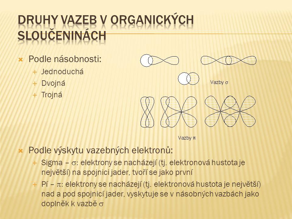  Podle násobnosti:  Jednoduchá  Dvojná  Trojná  Podle výskytu vazebných elektronů:  Sigma –  elektrony se nacházejí (tj. elektronová hustota