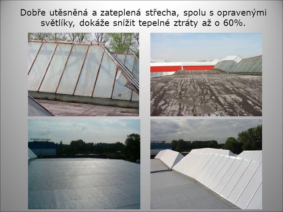 Dobře utěsněná a zateplená střecha, spolu s opravenými světlíky, dokáže snížit tepelné ztráty až o 60%.
