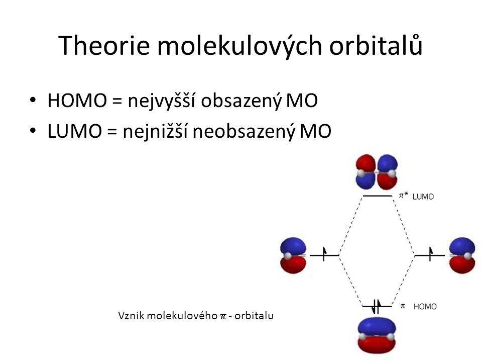 Theorie molekulových orbitalů HOMO = nejvyšší obsazený MO LUMO = nejnižší neobsazený MO Vznik molekulového  - orbitalu