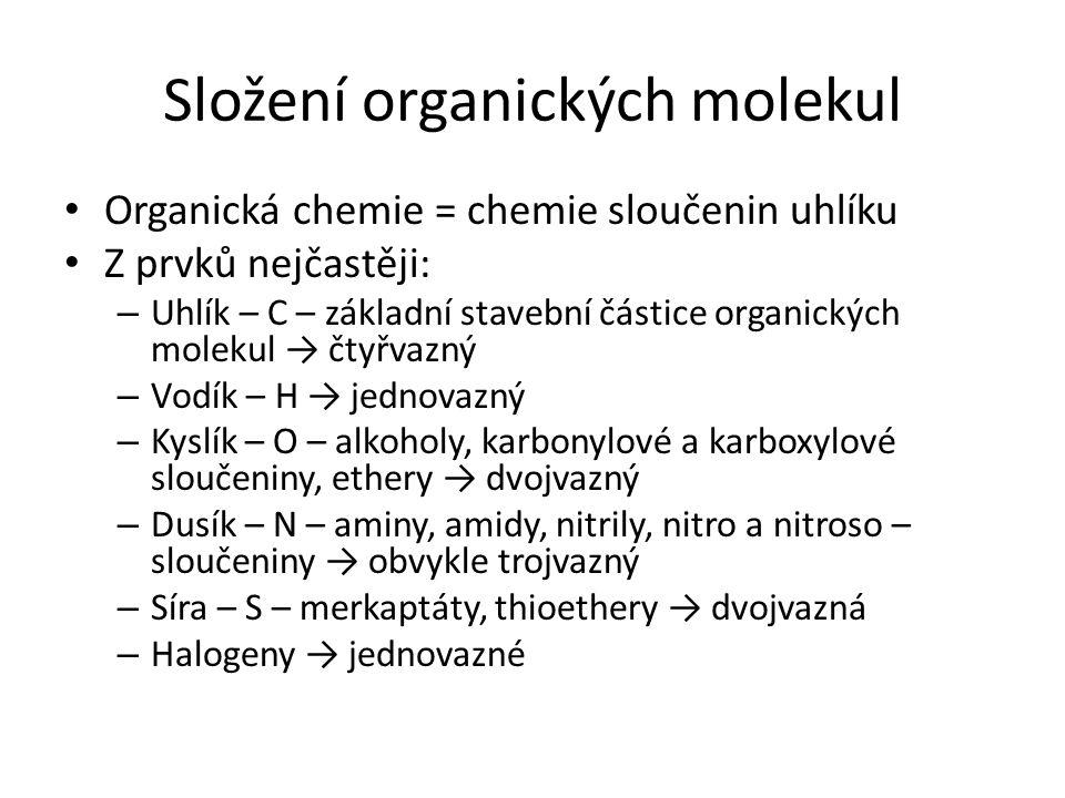 Dělení organických sloučenin Podle složení: – Uhlovodíky (pouze uhlík a vodík) – Deriváty uhlovodíků (obsahují i další prvky) Podle řetězce: – Acyklické (alifatické) Rozvětvené Nerozvětvené – Cyklické Alicyklické Aromatické Monocyklické Vícecyklické Podle výskytu násobných vazeb: – Nasycené – Nenasycené