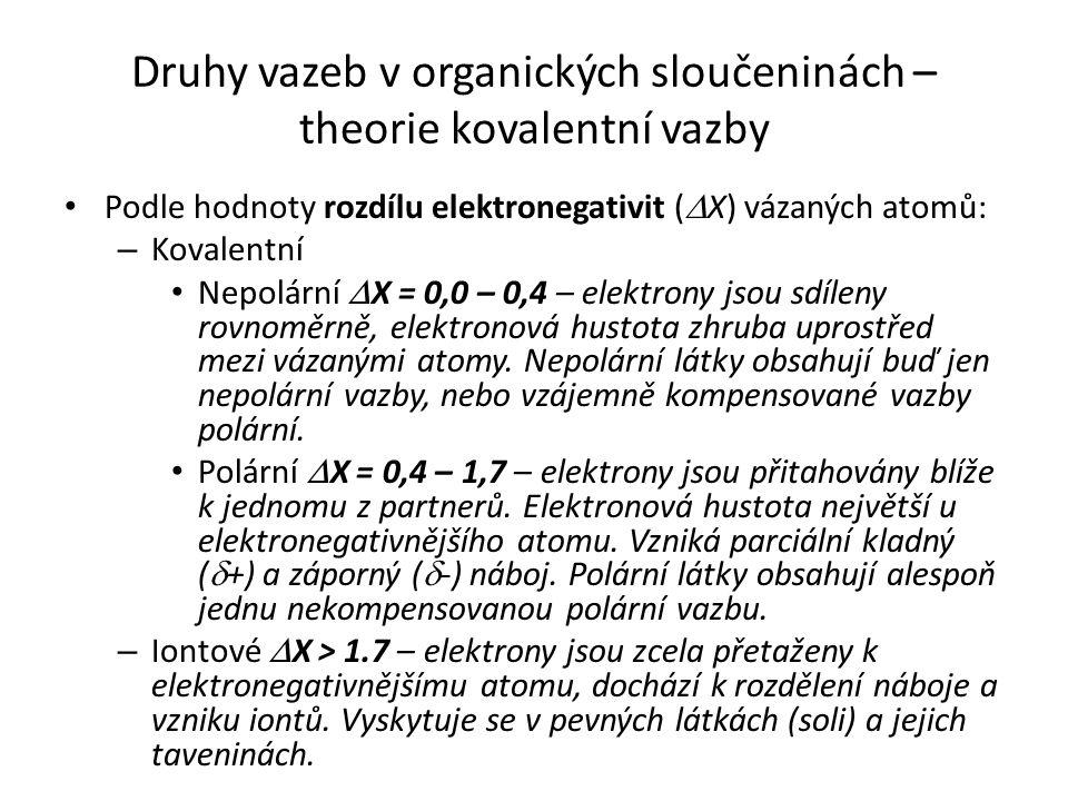 Druhy vazeb v organických sloučeninách – theorie kovalentní vazby Podle hodnoty rozdílu elektronegativit (  X) vázaných atomů: – Kovalentní Nepolární