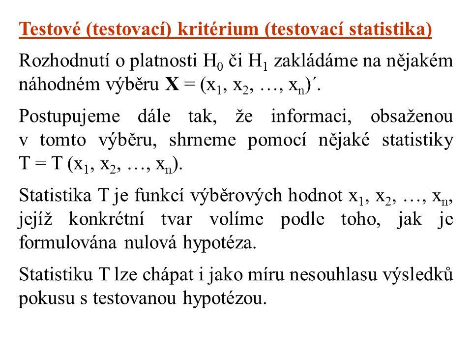 Testové (testovací) kritérium (testovací statistika) Rozhodnutí o platnosti H 0 či H 1 zakládáme na nějakém náhodném výběru X = (x 1, x 2, …, x n )´.