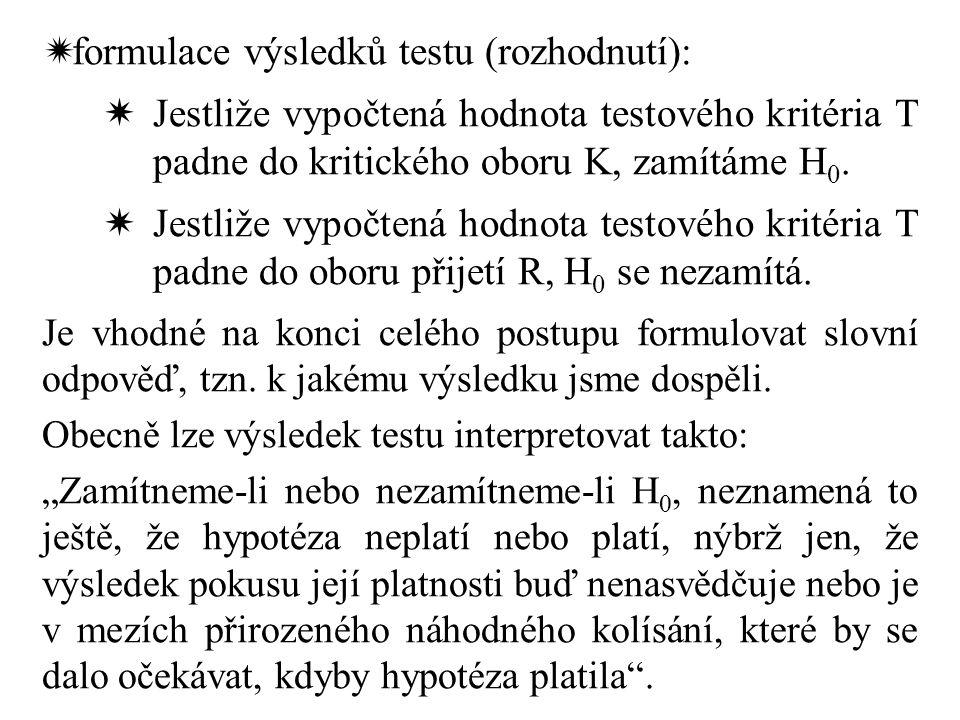  formulace výsledků testu (rozhodnutí):  Jestliže vypočtená hodnota testového kritéria T padne do kritického oboru K, zamítáme H 0.  Jestliže vypoč