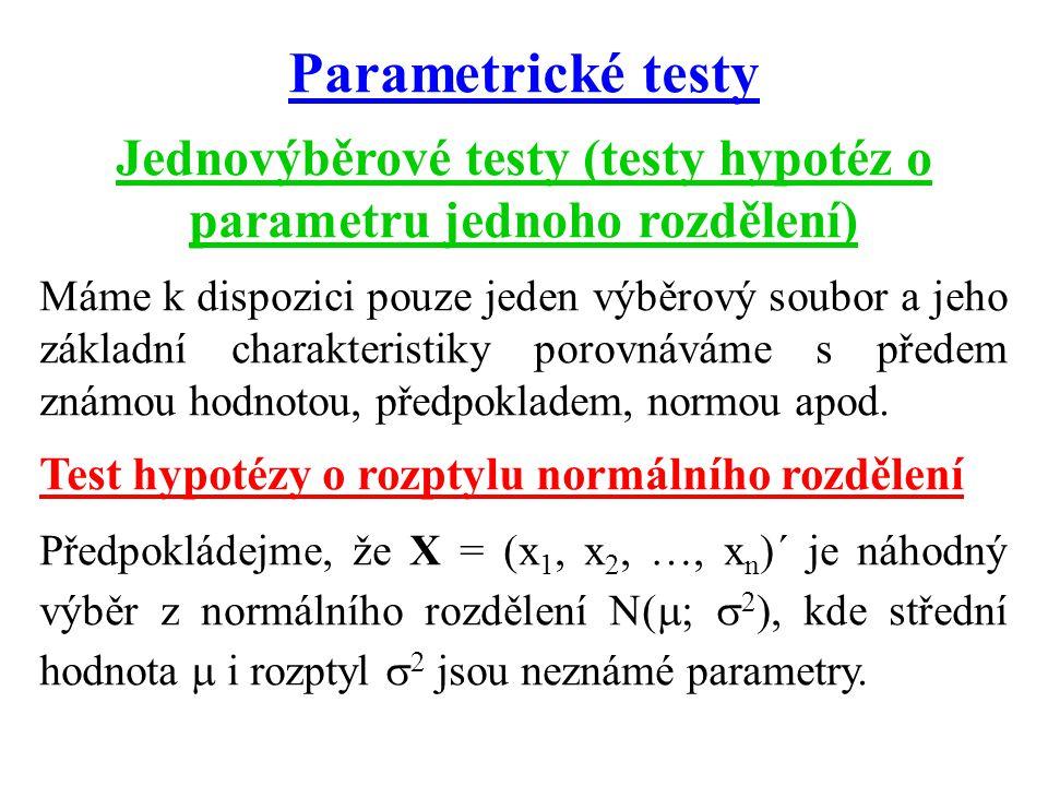 Parametrické testy Jednovýběrové testy (testy hypotéz o parametru jednoho rozdělení) Máme k dispozici pouze jeden výběrový soubor a jeho základní charakteristiky porovnáváme s předem známou hodnotou, předpokladem, normou apod.