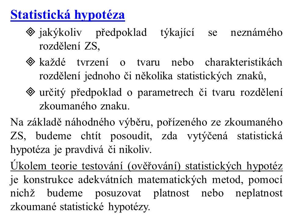 Statistická hypotéza  jakýkoliv předpoklad týkající se neznámého rozdělení ZS,  každé tvrzení o tvaru nebo charakteristikách rozdělení jednoho či několika statistických znaků,  určitý předpoklad o parametrech či tvaru rozdělení zkoumaného znaku.