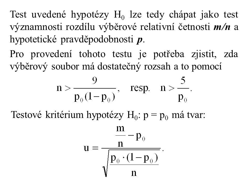 Test uvedené hypotézy H 0 lze tedy chápat jako test významnosti rozdílu výběrové relativní četnosti m/n a hypotetické pravděpodobnosti p. Pro proveden