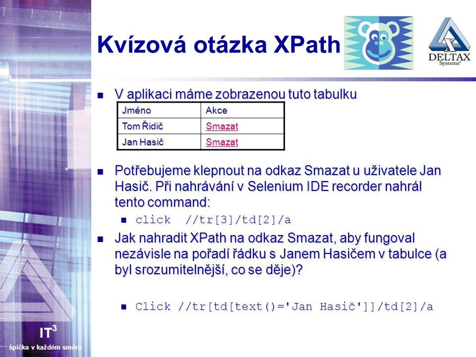 IT 3 špička v každém směru Kvízová otázka XPath V aplikaci máme zobrazenou tuto tabulku V aplikaci máme zobrazenou tuto tabulku Potřebujeme klepnout na odkaz Smazat u uživatele Jan Hasič.