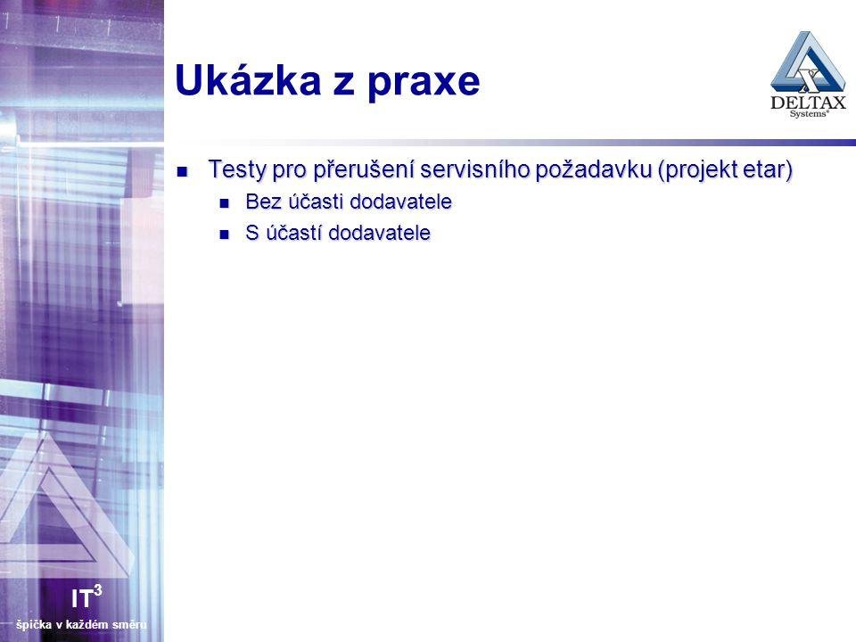 IT 3 špička v každém směru Ukázka z praxe Testy pro přerušení servisního požadavku (projekt etar) Testy pro přerušení servisního požadavku (projekt etar) Bez účasti dodavatele Bez účasti dodavatele S účastí dodavatele S účastí dodavatele
